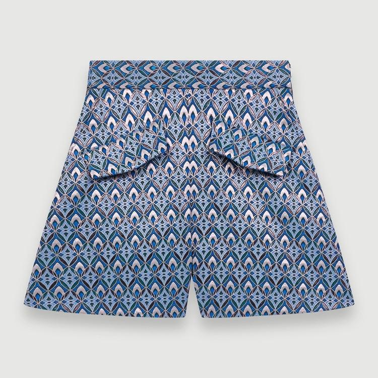 Women Gemetric Jacquard Mini Shorts High Waist Casual Loose Shorts With Pockets 2020 Spring Summer