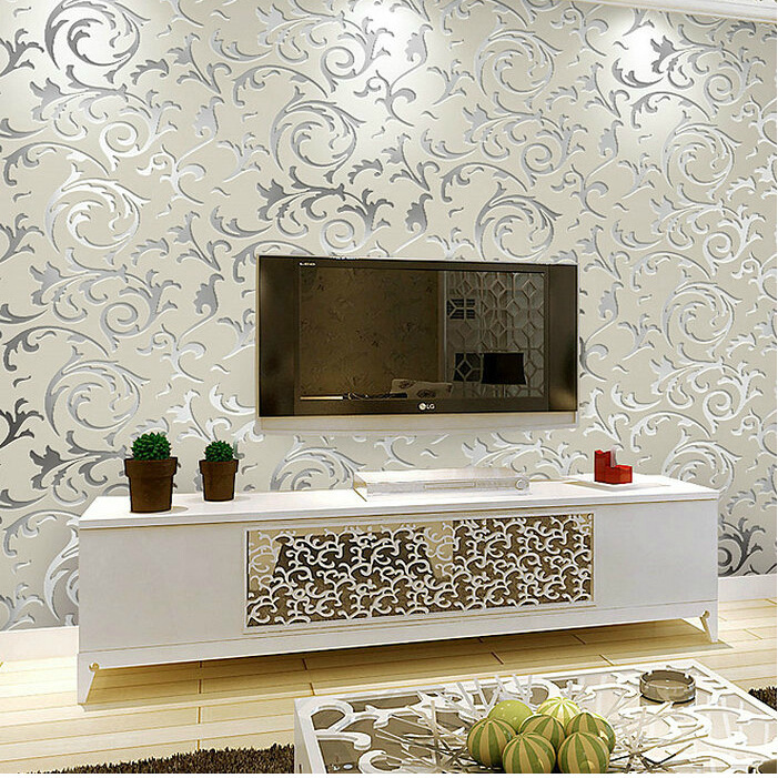 EBay Hot Selling 3D Relief Non-woven Wallpaper Classic European Style Crochet Buttercup Leaves Bedroom Living Room Wallpaper