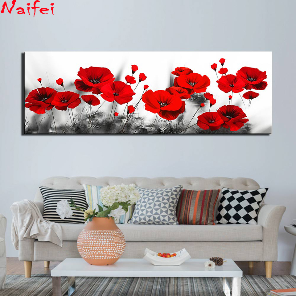 Large size 5D Round Diamond Painting Black and White Red poppy Full Square Flowers Embroidery Mosaic Cross Stitch Handmade Gift