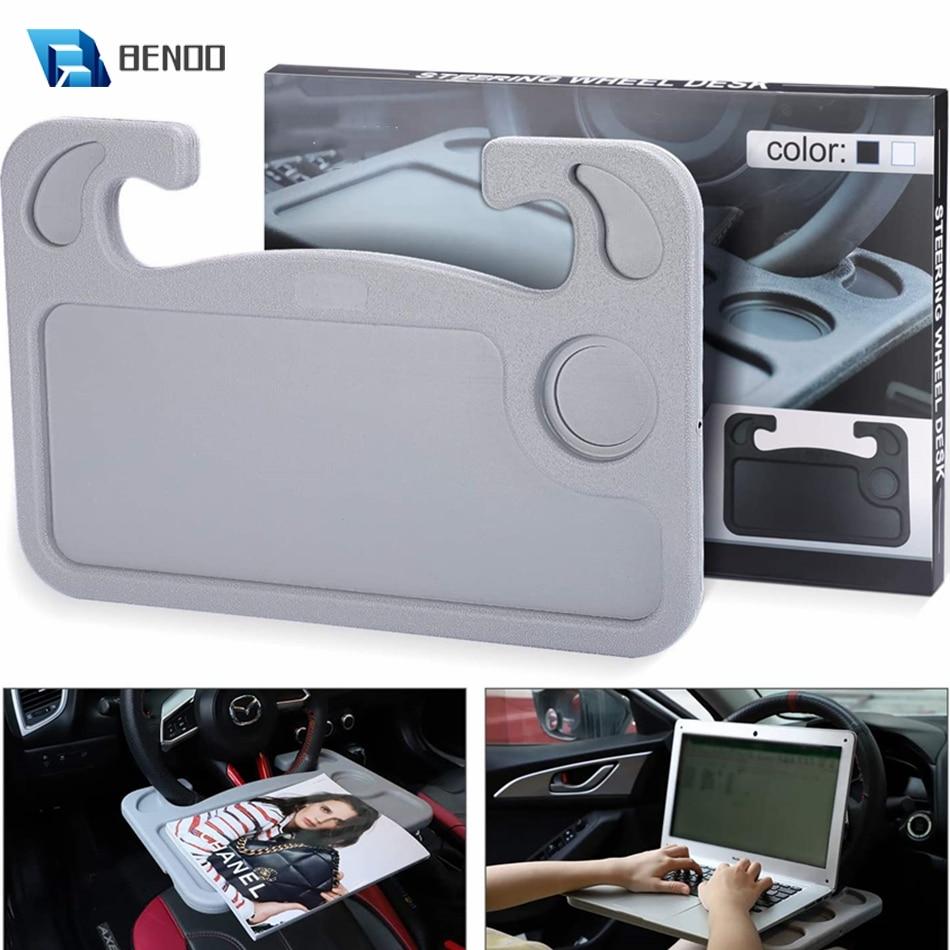 BENOO Grey Black ABS Multipurpose Auto Steering Wheel Table Desk Table Steering Wheel Tray Eating Laptop Holder Fits Most Cars