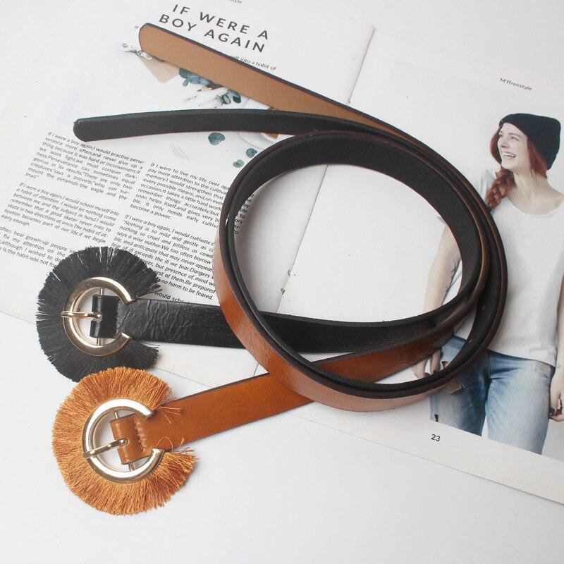 2019 New Round Buckle Women Leather Wide Belt Female Belts Soft Metal Belts Buckle Belts For Women Lady Girdle Kemer ML119