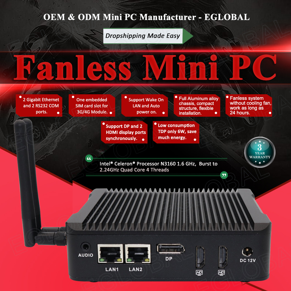 EGLOBAL Fanless Mini PC Celeron N3160 Mini Computer 2 LAN 2 COM 2 HD Low Power Pocket PC WIFI Bluetooth Win 10 Pro TV Box