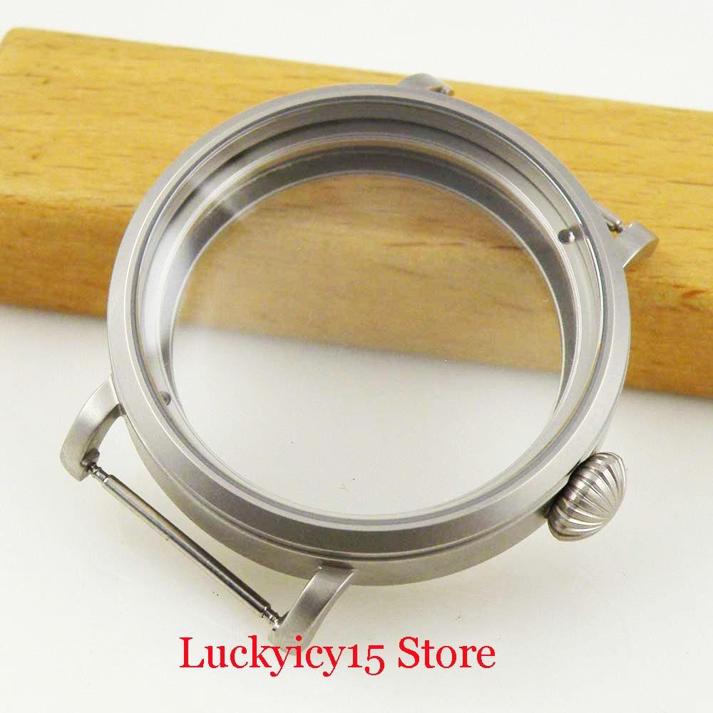 Inoxidável Escovado Assista Case Fit Eta 6497 6498 Mão Winding Movimento Aço 46mm