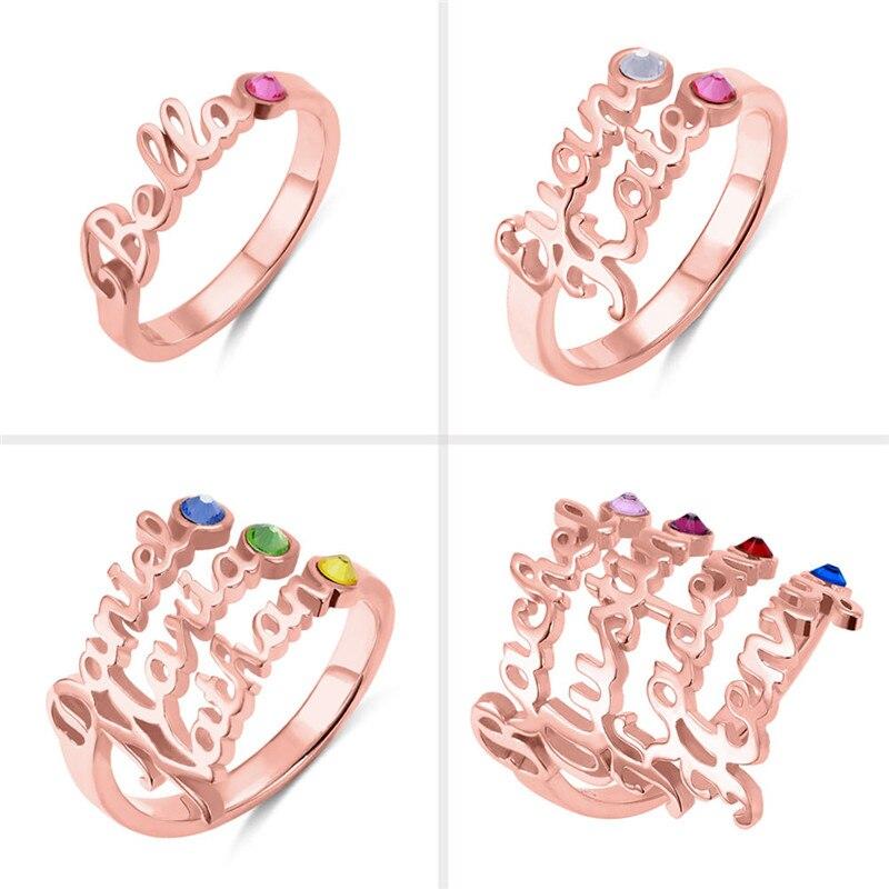 AILIN personnaliser nom anneaux avec pierre de naissance personnalisé nom anneaux en argent Sterling anneaux bijoux pour femmes nom de famille anneaux - 2