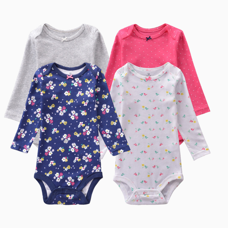 4 Pieces/Lot Bodysuits 2019 Spring Autumn Baby Girl Clothes Cotton Long Sleeves Printed Bodysuit Baby Jumpsuit Baby Boy Clothes