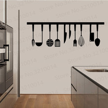 3d Effect Kitchen Tools Restaurant wall stickers Decals Kitchen Decoration Home Decor DIY wall art MURAL PW330 3d effect disney cars lightning mcqueen window wall stickers bedroom home decor cartoon wall decals pvc mural art diy posters