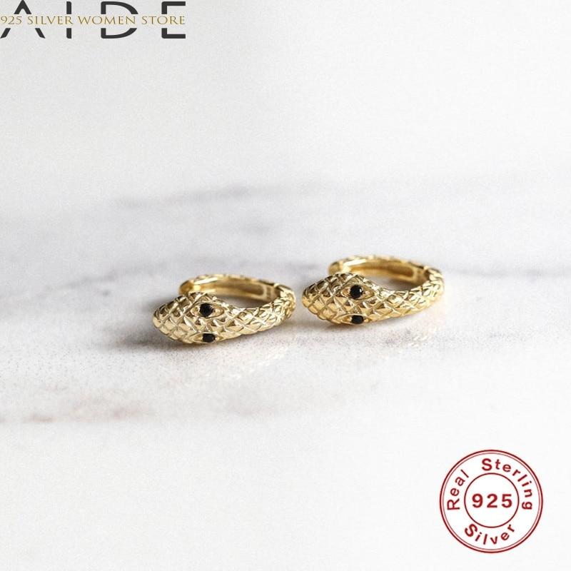 AIDE Real 925 Silver Earrings For Women Gold Snake Earrings Gothic Girl Ear Bone Piercing Earring Punk Female Statement Aretes