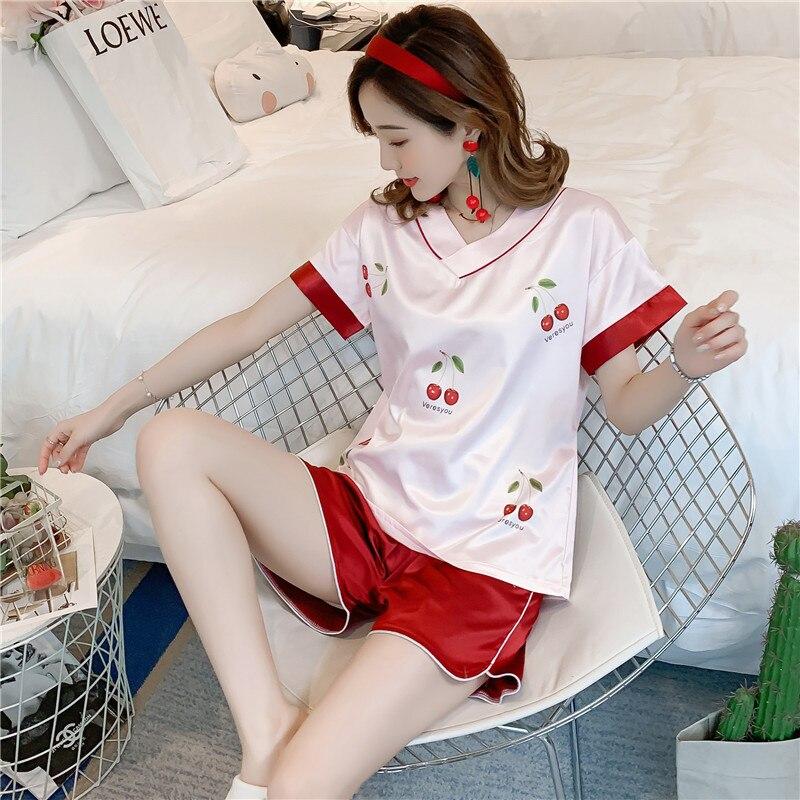 Viscose Pajamas Women's Summer Thin Section Korean-style Fresh Students Sweet Imitated Silk Fabric Tracksuit Summer Cute Set