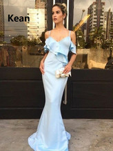 Sky Blue Spaghetti Straps Evening Dress Satin Mermaid Ruffle Simple Islamic Dubai Kaftan Saudi Arabic Evening Gown Prom Dress массажер first austria fa 8116 2
