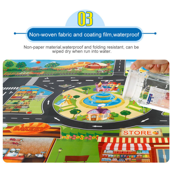 Hc49eaa3919f14a5ca4609ec43d94b5aaC Hot Selling 130*100cm Children Play Mats House Traffic Road Signs Car Model Parking City Scene Map