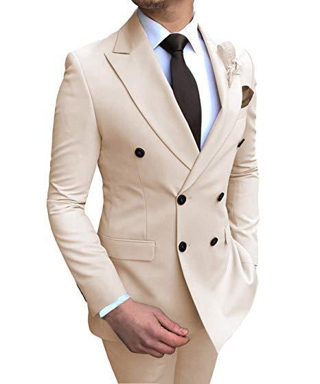 Mens Suits 2 Pieces Slim Fit Casual Business Groomsmen Grey Green Ivory Lapel Tuxedos for Wedding Suit Blazer Pants Vest