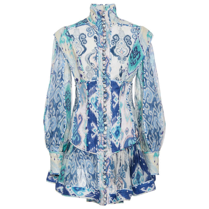 2020 primavera nova retro impressão sexy vestido feminino gola lanterna manga de cintura alta babados mini vestidos moda feminina - 4