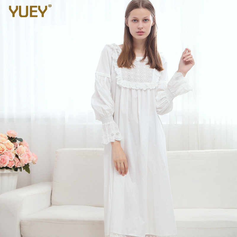 European Style Brand Women Sweet Pleated Sleeping Dress White Retro Long Sleeve Princess Pure Cotton Vintage Nightgown Sleepwear