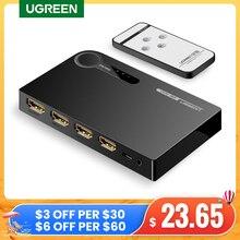 UGREEN HDMI Schalter 4K 3 Port HDMI Switcher Splitter Hub 4K Volle HD 3D Kompatibel für Laptop Xbox 360 PS4 mit IR Fernbedienung