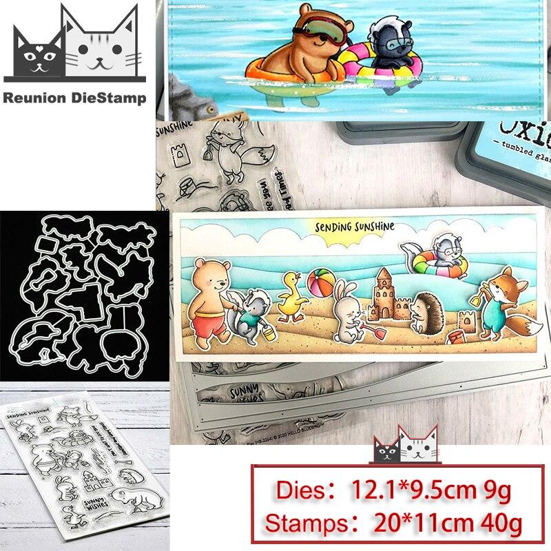 Купить реюньон животных пляж плавание чистые штампы и металлические