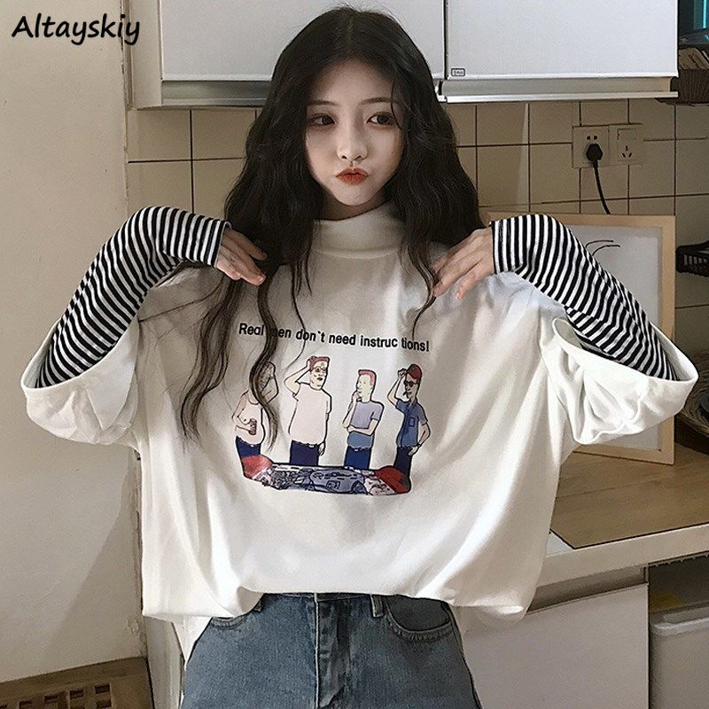 Long Sleeve T-shirts Women Patchwork Print Leisure Daily Fake Two Pieces Cool Students Womens Korean Style Half-turtleneck Chic