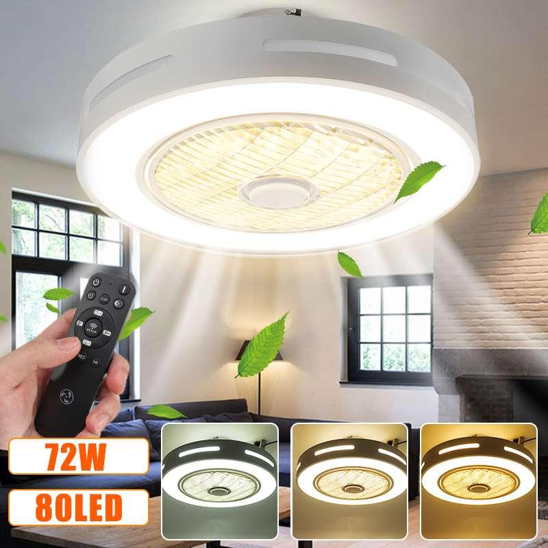 Modern moda LED tavan vantilatörleri ışıkları 72W tavan ışıkları 3 renk ile aydınlatma ve 3 vitesli hız lamba uzaktan kontrol AC185-250V