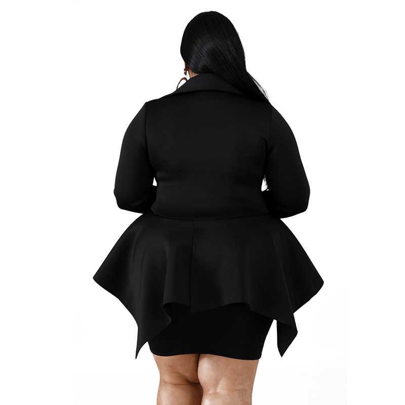 Jesień kobiety sukienka Plus rozmiar urząd Lady sukienka z długim rękawem V Neck wzburzyć Mini sukienki klasyczny jednolity kolor hurtownia Dropshipping