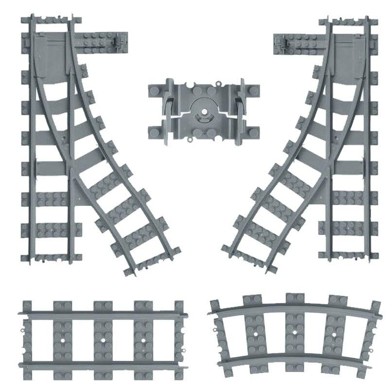 City Railway Building Block Train Track Straight Rail Curved Railroad Track Switch Track Educational Bricks Toy For Boy 60205