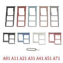 Phone SIM SD Card Trays For Samsung Galaxy A01 A11 A21 A31 A41 A51 A71 Original Phone SIM Chip Card Slot Holder Part + Pin