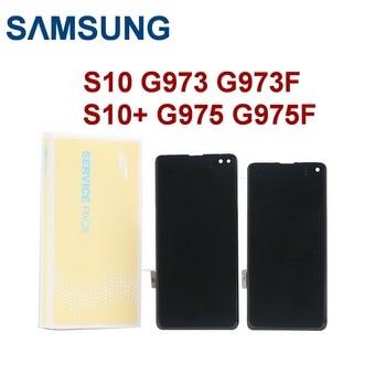 ORIGINAL AMOLED For SAMSUNG Galaxy S10 LCD G973 G973F LCD For Galaxy S10+ S10 Plus G975 G975F LCD display Touch screen digitizer смартфон samsung galaxy s10 g973f оникс