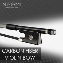 NAOMI 4/4 Size Violin/ Fiddle Bow Carbon Fiber Bow Round Stick AAA Grade Black Horsehair Ebony Frog Paris Eye Inlay Beginner Use