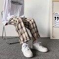 Männer Hosen Plaid Lose Komfortable Retro Casual Alle-spiel Elastischen Taille Chic Breite Bein Hosen Mode Streetwear Koreanischen Stil