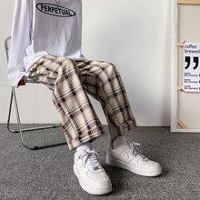 Erkek pantolon ekose gevşek rahat Retro rahat tüm maç elastik bel Chic geniş bacak pantolon moda Streetwear kore tarzı