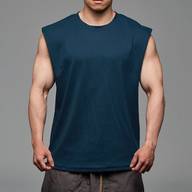 Men Tank Top Broad Shoulder Vest Casual Loose  Mens Crop Top Workout  Exercise Clothing Sleeveless Shirt 5