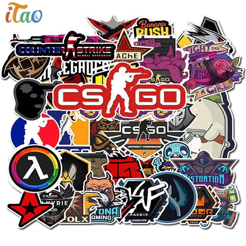 10/20/30/40/50pcs Anime Game CS GO Sticker Waterproof PVC Skateboard Luggage Car Snowboard Laptop Guitar Kids Toys Cool Stickers