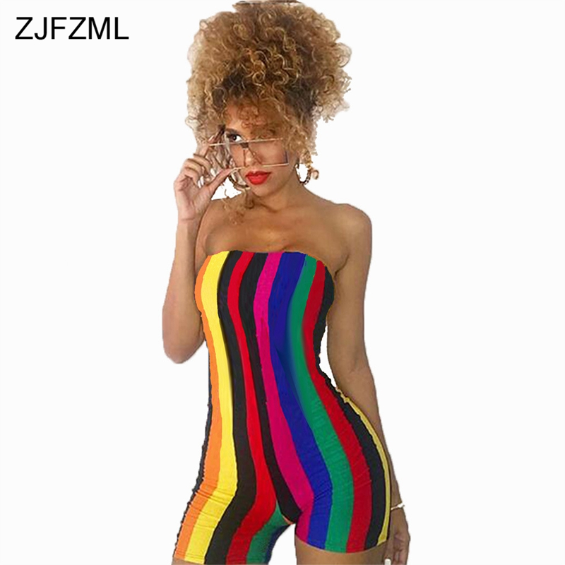 ZJFZML Rainbow Vertical Striped Sexy Sheath Playsuit Women Strapless Off Shoulder Short Bodysuit Summer Backless Party Overall