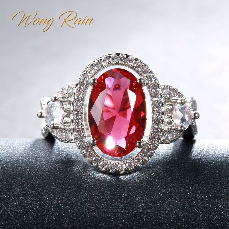 Wong Rain Vintage 100% 925 Sterling Silver Ruby Gemstone Wedding Engagement Diamonds Ring Wedding Band Fine Jewelry Wholesale