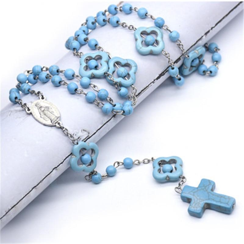 Религиозный католический религиозный Римский Голубой Бирюзовый ожерелье Молитвенное ожерелье крест кулон