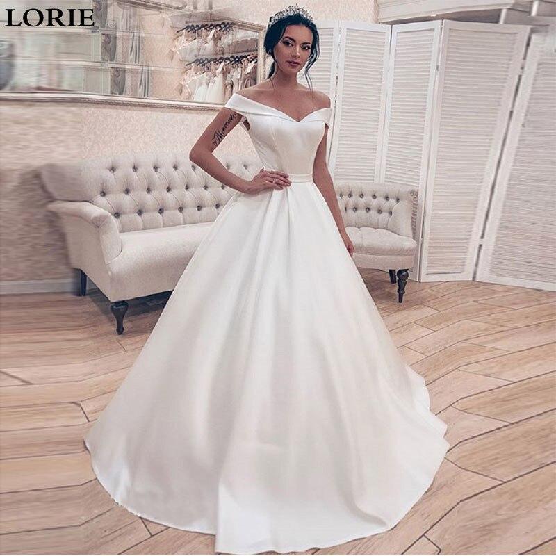 LORIE Wedding Dresses Satin A Line Boho Bride Dresses Off The Shoulder Wedding Gown Lace Up Back Vestido De Novia