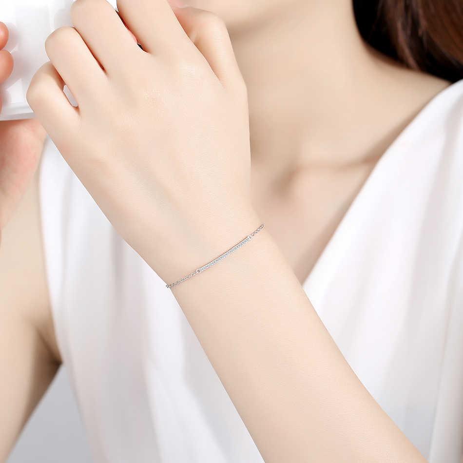 ELESHE 925 srebro bransoletka z kryształem kobiet prosty pasek Stick Chain bransoletka dla kobiet biżuteria prezent na boże narodzenie