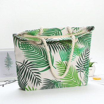 HARJOBEN White Handle Carry-all Bag Eco Shopping Tote Tropical Leaves Weekender Tote Beach Goers Tote Bag Palm Print 1