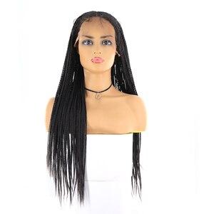Image 5 - Boîte tresses synthétique dentelle avant perruques sénégalais torsion longue droite oreille à loreille cheveux tressés 13X4 perruque de dentelle avec des cheveux de bébé X TRESS