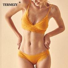 Termezy高品質の綿の下着セットセクシーなレースのランジェリーロマンチックな誘惑ブラセット女性ストライプブラジャーとパンティーセット