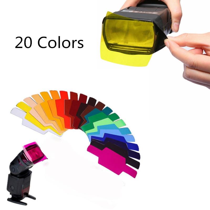 20pcs Flash Speedlite Color Gels Filters for Canon Camera Photographic Gels Filter Flash Speedlite Speedlight
