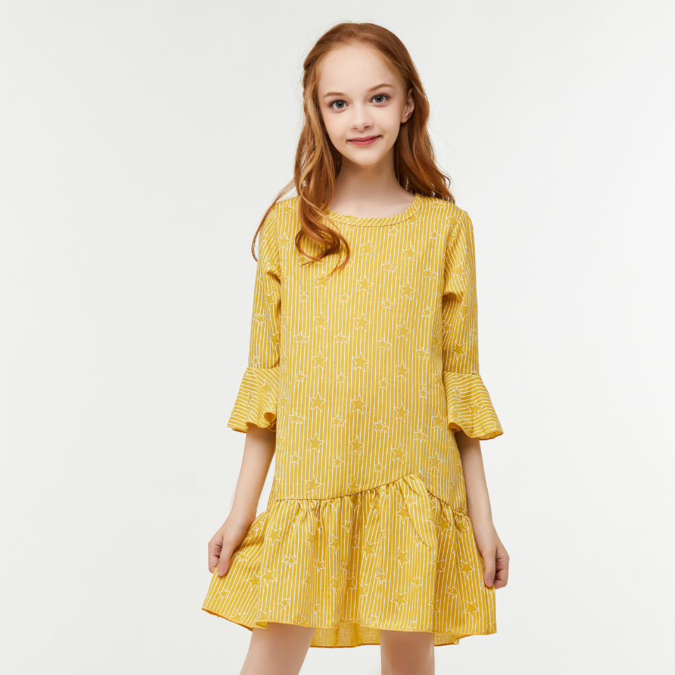 CupofSweet Yellow Girls Mini Dress Shirt Kids Clothing 1/2 Ruffled Cropped Sleeves 2019 Summer Fashion Dresses Casual Girl