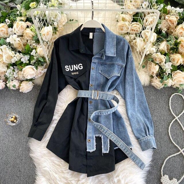 2021spring Autumn Women's Denim Shirt Color Contrast Patchwork Lace Up Blouse Shows Thin Versatile Top Fashion GD596 1