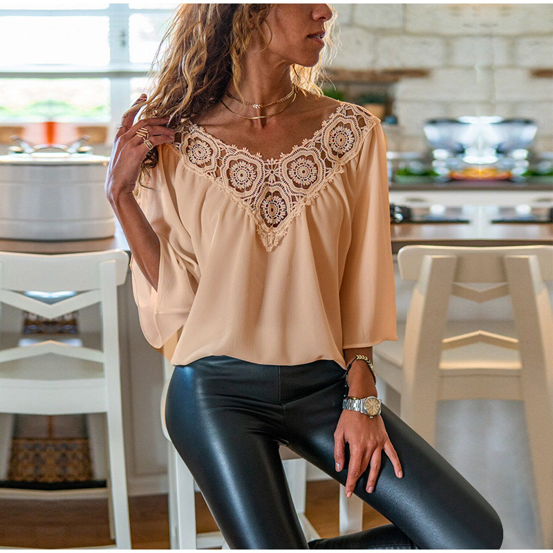 Women Chiffon Blouses Lace Patchwork Tops V Neck Three Quarter Sleeve Female Blouse 2020 Spring Summer Fashion Loose Ladies Top