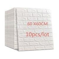 60X60cm 10pcs 3D Brick Wall Stickers Wallpaper Decor Foam Waterproof Wall Covering Wallpaper For Kids Living Room DIY Background