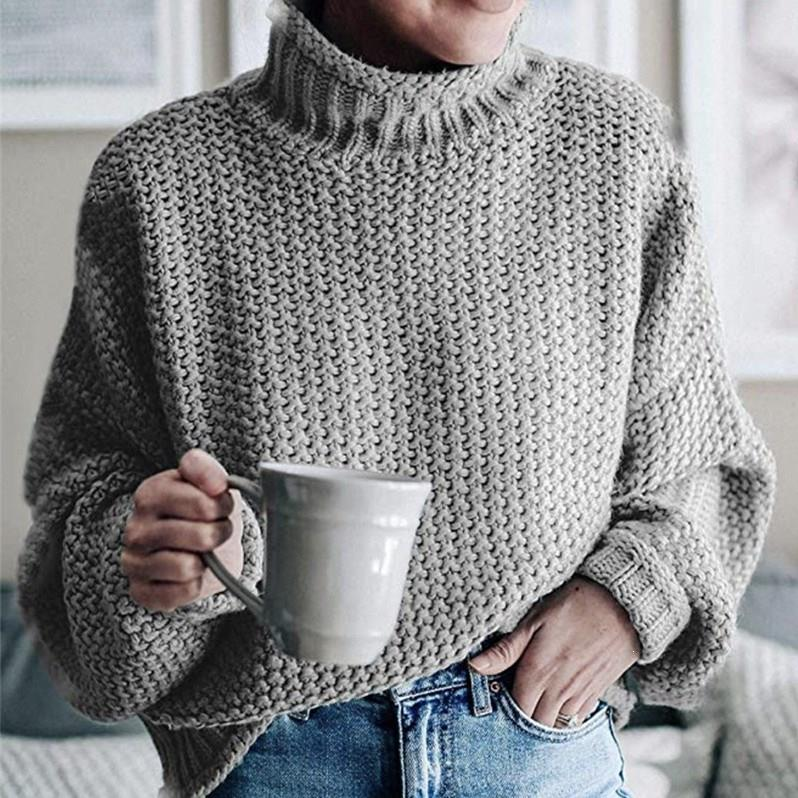Plus Size Autumn Turtleneck Knitted Sweater Women Solid Long Sleeve Loose Sweater Office Lady Casual Jumper Sweaters