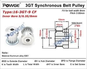 Image 5 - Powge 5 Pcs 16 Tanden 3GT Tandriemschijf Boring 5 Mm 6.35 Mm 8 Mm Voor Breedte 9 Mm 3GT open Riem GT3 3MGT Synchrone Katrol 16 Tanden 16 T