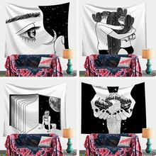 Pop Art Black White Creative Tapestry Polyester Hippie Pattern Hanging Blanket Tbstract Painting Art Wall Hanging Gobelin Living