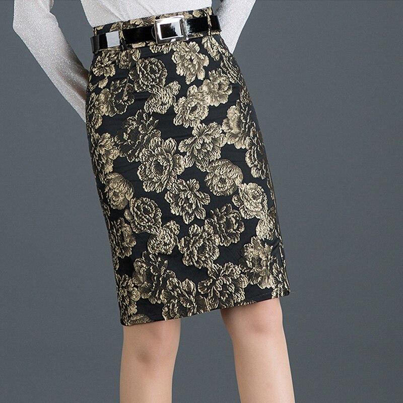 Winter Fall Fashion Office Lady Womens High Waist Blue Golden Jacquard Pencil Skirt , Spring Glitters Slim 4xl Skirts For Women