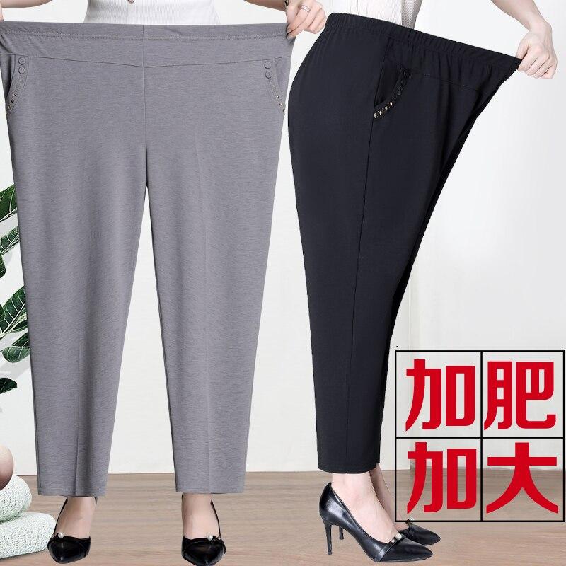 Новинка, очень большие размеры, прямые брюки, брюки для женщин среднего возраста, летние тонкие свободные брюки, одежда для мамы, длинные брюки размера плюс|Брюки |   | АлиЭкспресс