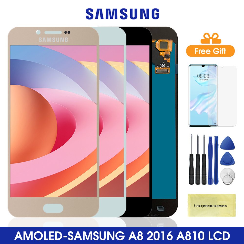 5.7 Super Amoled A810 LCD For Samsung Galaxy A8 2016 LCD Display Touch Screen Digitizer Assembly For Samsung A810 A8100 Lcd image