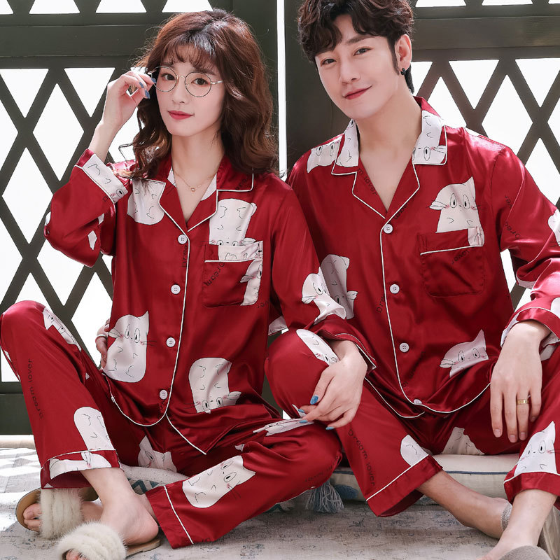 Couple Silk Pajama Sets Sleep Print Satin Sleepwear Women Summer Suit Full Sleeve Silk Pyjama Men Pyjamas Male XL XXL XXXL